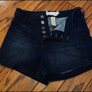 Altr'd State dark wash button fly highwasted short